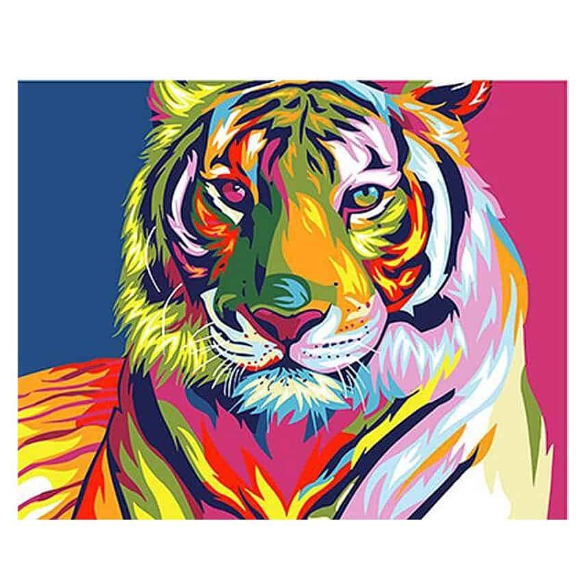 DIY Colorful Tiger Painting By Numbers 20