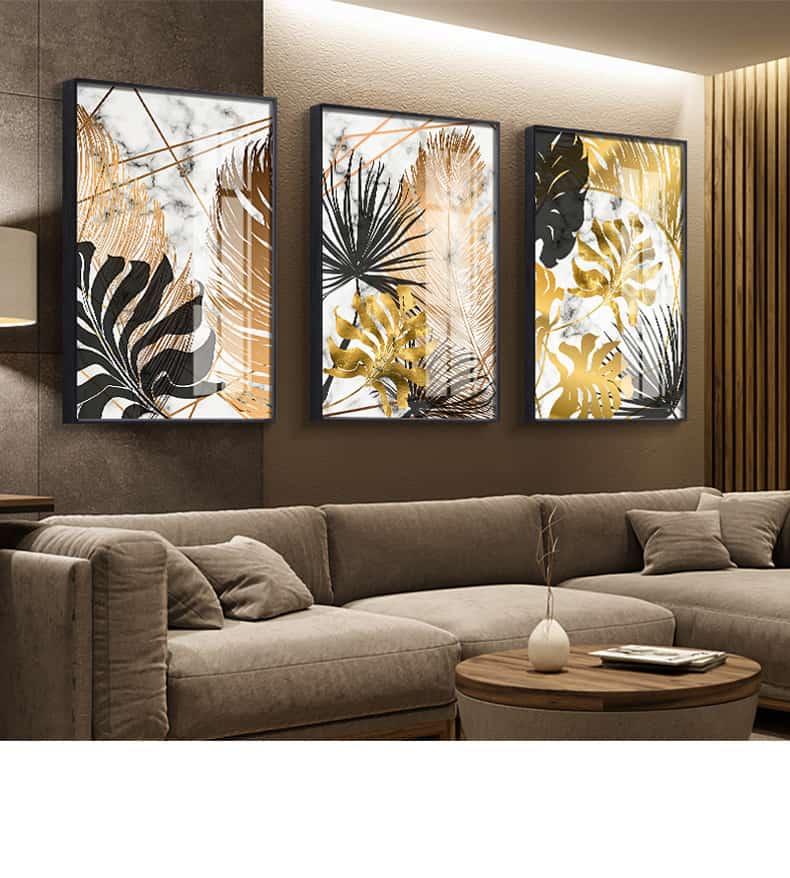 Nordic Plants Golden Leaf Canvas Painting 23