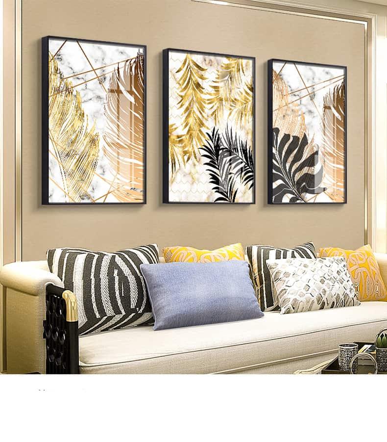 Nordic Plants Golden Leaf Canvas Painting 27