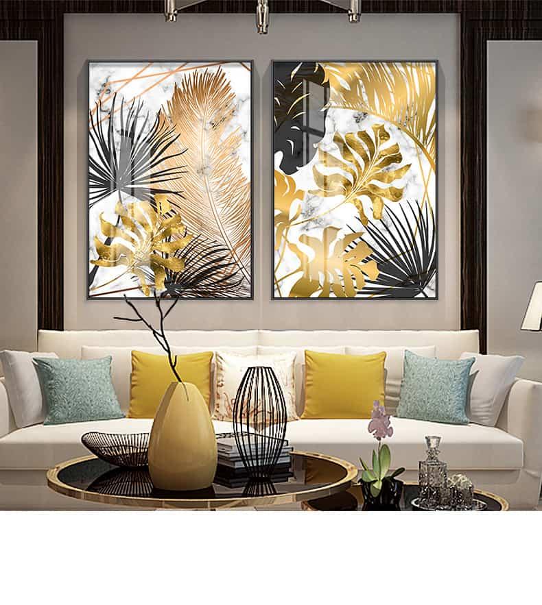 Nordic Plants Golden Leaf Canvas Painting 24
