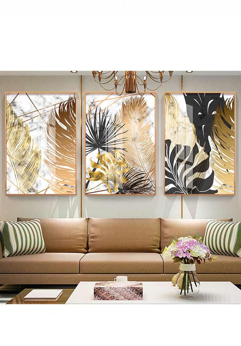 Nordic Plants Golden Leaf Canvas Painting 28