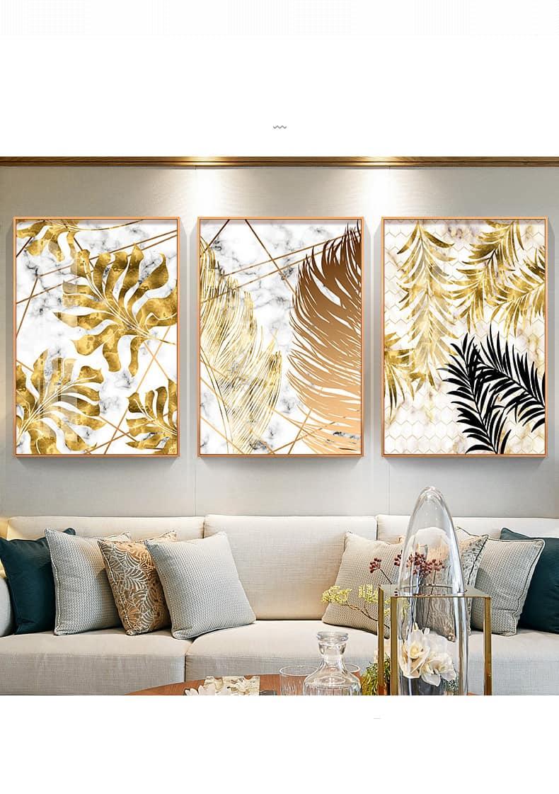 Nordic Plants Golden Leaf Canvas Painting 25