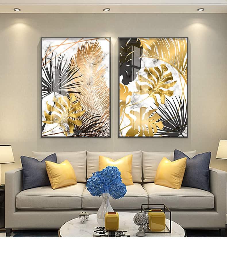 Nordic Plants Golden Leaf Canvas Painting 30