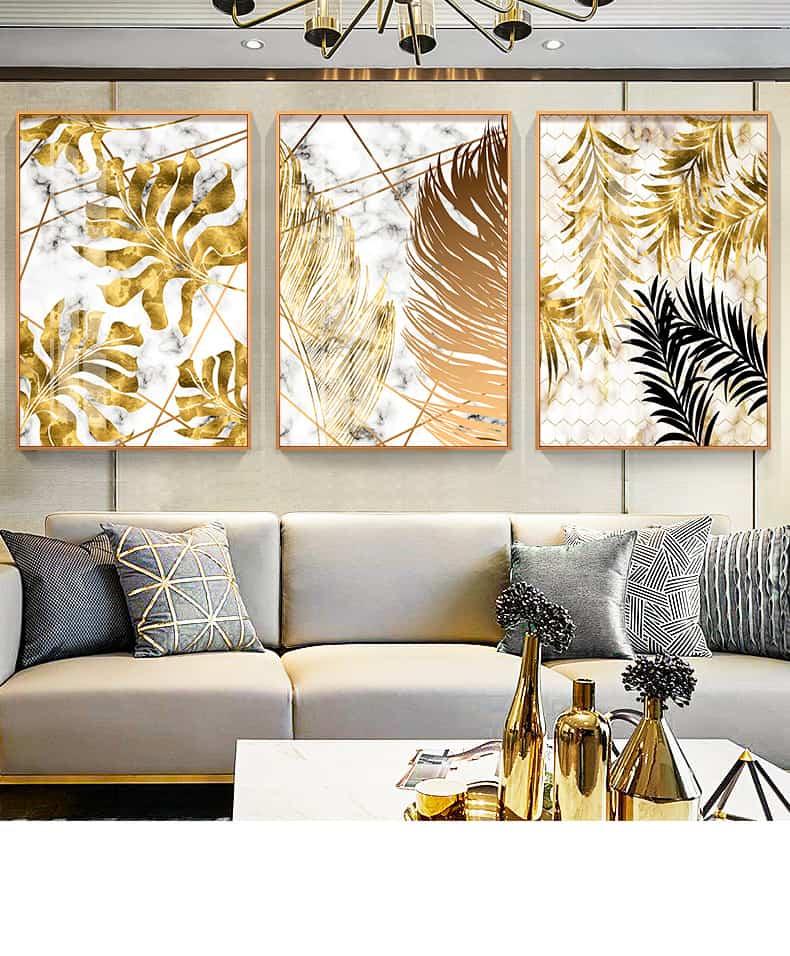 Nordic Plants Golden Leaf Canvas Painting 29